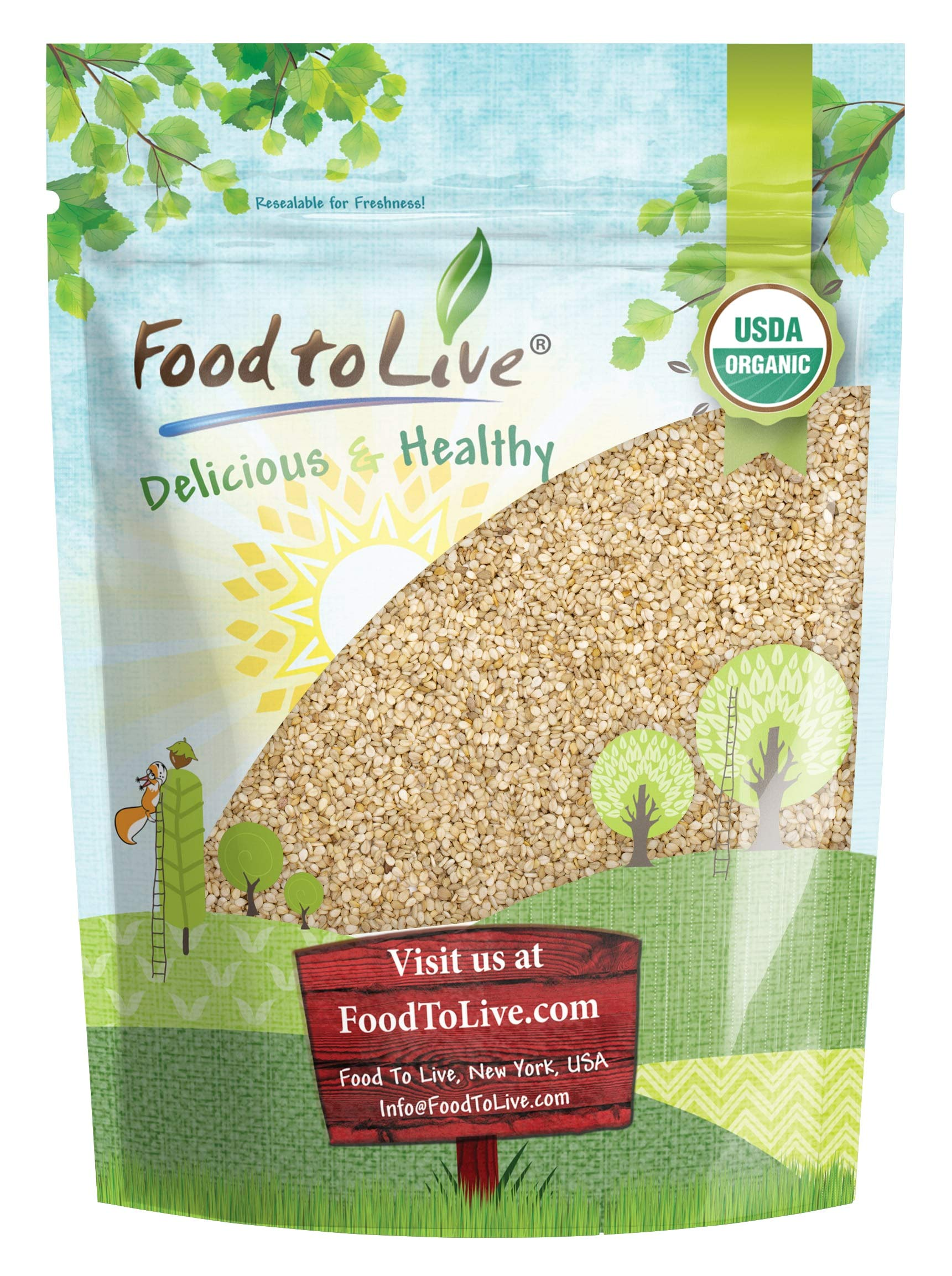 Organic Unhulled Sesame Seeds, 1 Pound — Natural, Whole, White, Non-GMO, Raw, Kosher, Bulk, Rich in Calcium, Iron, and Fiber, Great for Baking
