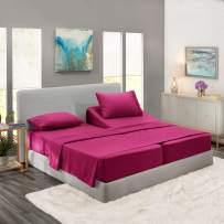 Nestl Bedding 5 Piece Sheet Set - 1800 Deep Pocket Bed Sheet Set - Hotel Luxury Double Brushed Microfiber Sheets - Deep Pocket Fitted Sheet, Flat Sheet, Pillow Cases, Split Cal King - Magenta