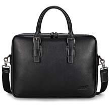S-ZONE Mens Leather Briefcase 14 inch Laptop Messenger Shoulder Crossbody Bag