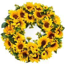 "Junejour 15"" Artificial Sunflower Wreath Flower Wreath Yellow Flower Door Wreath Summer Wreaths for Front Door with Green Leaves Spring Wreath Decoration Wedding Wall Home Decor"