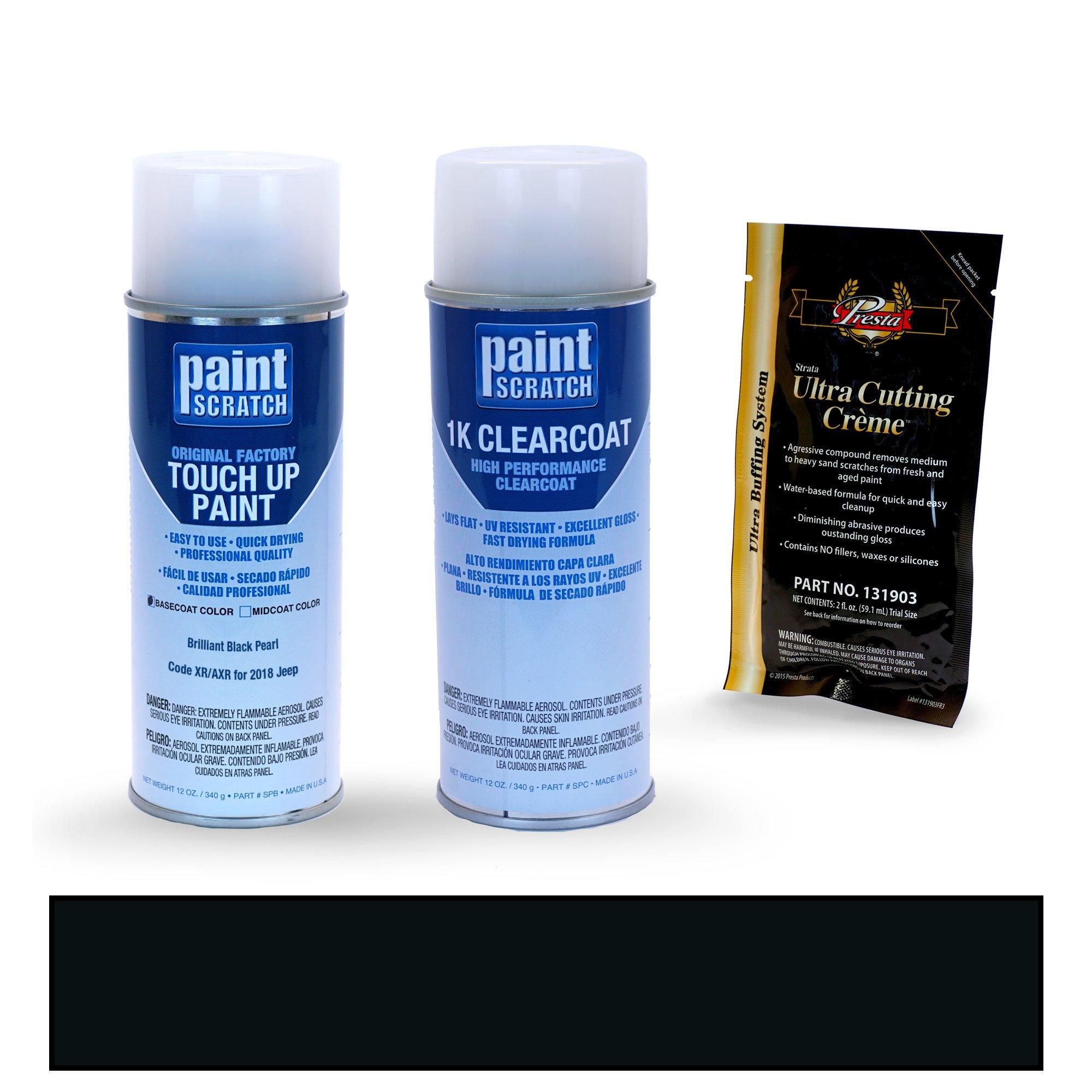 PAINTSCRATCH Brilliant Black Pearl XR/AXR for 2018 Jeep Wrangler - Touch Up Paint Spray Can Kit - Original Factory OEM Automotive Paint - Color Match Guaranteed
