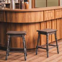 Furgle Set of 2 Counter Stool Bar Stool Counter 24-inch Solid Wood Bar Stool Backless Saddle Seat Stool for Kitchen Island, Counter, Pub or Bar - Dark Gray