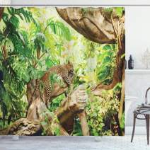 """Ambesonne Safari Shower Curtain, Leopard on The Branch in Savannah Exotic Macro Tropical Leaf Jungle Wild Nature Art, Cloth Fabric Bathroom Decor Set with Hooks, 70"""" Long, Brown"""