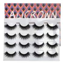 ALICROWN False Eyelashes Fluffy Volume 3D Lashes Pack Handmade Dramatic Thick Crossed Fake Eyelashes Soft Reusable 8 Pairs