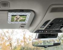 VISOR FRAMES - Clips to Car Sun Visor (Diamond Plated) Fits Standard Wallet Size Photo (2.5 inches x 3.5 inches) - Rotating Clip for Landscape or Portrait Position - Made in Detroit, USA