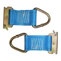 E-Track Rope Tie Off - SGT KNOTS - E Track Cargo Strap Tie Downs - ETrack Accessories for Cargo Tiedown Rail Mounts - Load Securement in Flat Bed Trucks, Vans, and Trailers (6 in - 2 Pack - Blue)