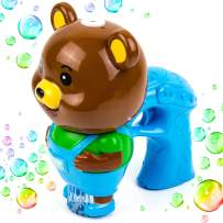 Toysery Bear Bubble Gun Machine, Premium Quality Bubble Blaster with LED Flashing Lights and Music, Battery Operated Light Weight Bubble Blower Perfect for Kids Indoor Outdoor Activities – Blue