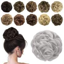 Sofeiyan Messy Bun Hair Piece Synthetic Curly Updo Hair Scrunchies Chignon Hairpiece Extensions for Women Girls, Grey