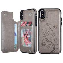 UEEBAI Case for iPhone XR, Luxury PU Leather Case [Two Magnetic Clasp] [Card Slots] Stand Function Butterfly Flower Pattern Durable Shockproof Soft TPU Back Wallet Cover for iPhone XR - Grey