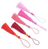 Makhry 100pcs 5 Inch Silky Floss Bookmark Tassels with 2-Inch Cord Loop and Small Chinese Knot for Jewelry Making, Souvenir, Bookmarks, DIY Craft Accessory (Multi Red)