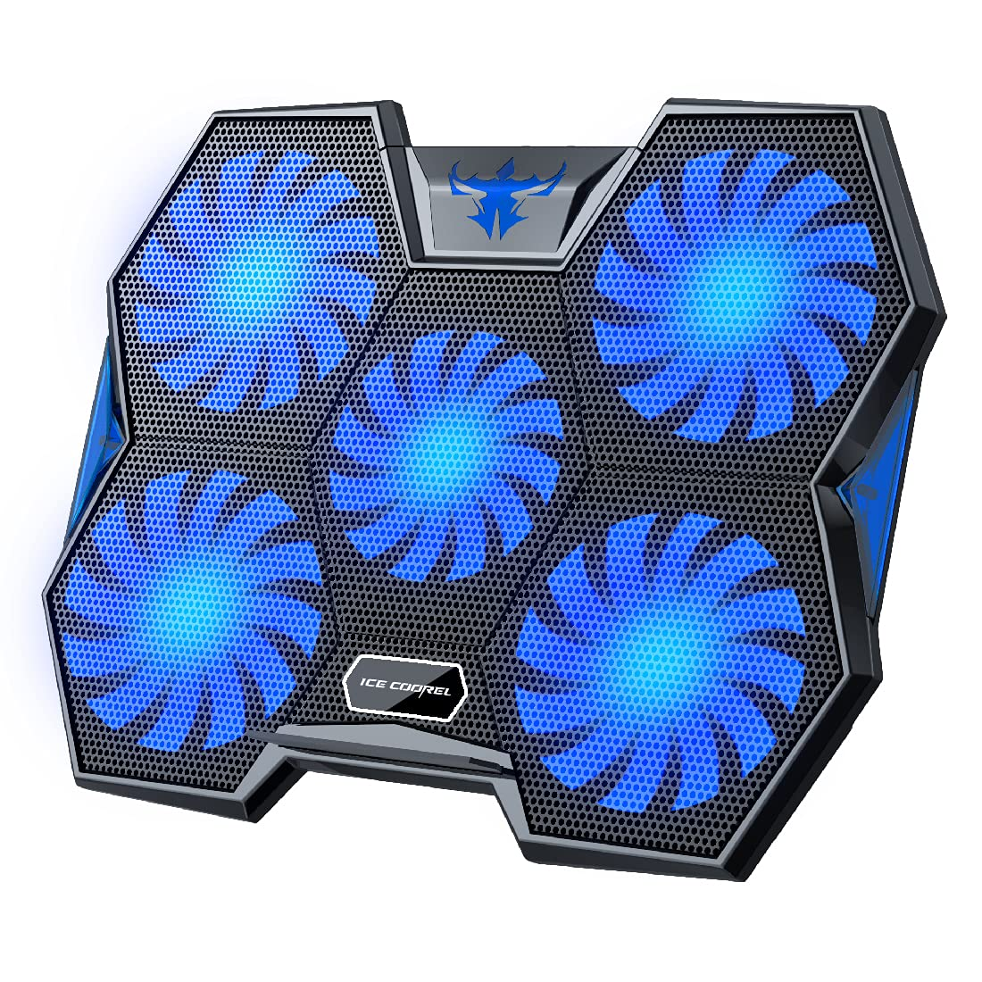 ICE COOREL Laptop Cooling Pad 15.6-17 inch, Gaming Laptop Cooler Pad with 5 Big Quiet Cooling Fans, Notebook Cooler Fast Heat Dissipation, The Wind Speed Adjustable, Dual USB 2.0 Ports
