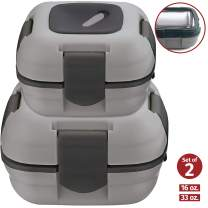 Lunch Box ~ Pinnacle Insulated Leak Proof Lunch Box for Adults and Kids - Thermal Lunch Container With NEW Heat Release Valve ~Set of 2/2 Sizes~ Grey