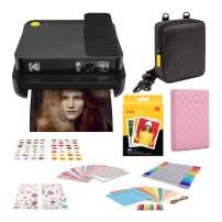 Kodak Smile Classic Digital Instant Camera(Black) with 3.5x4.25 inch Premium Zink Print Photo Paper (40 Sheets), Soft Camera case, Zink Paper Unique Colorful Stickers & Photo Album Accessories