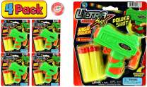JA-RU Ultra Foam Dart Gun (4 Packs) Super Mega Powerful Shotgun Blaster Shot Handgun Party Favor Pinata Fillers. Plus 1 Ball | Item #5483-4p