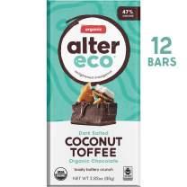 Alter Eco | Dark Coconut Toffee | 47% Pure Dark Cocoa, Fair Trade, Organic, Non-GMO, Gluten-Free Dark Chocolate Bar, 12 Bars