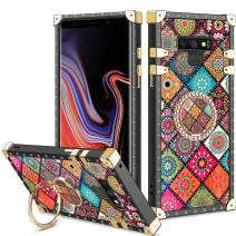 Vofolen Cover for Galaxy Note 9 Case Ring Holder Kickstand Exotic Colorful Square Diamond Rivet Protective Soft Shell Anti-Slip Rotational Clip Finger Loop for Samsung Galaxy Note 9 (Mandala Flower)