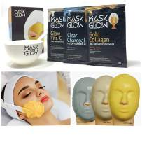 """Premium Modeling Peel-Off Mask""""Rubber Mask"""" Spa Set- 3 Treatments (Gold Collagen, Glow Vita C, Clear Charcoal) + Bowl and Spatula, Made In Korea (3 Pack, Spa Set) (3 Pack)"""