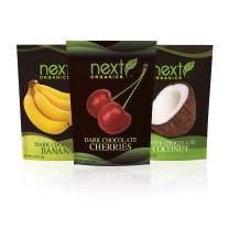 Next Organics Dark Chocolate Fruit Variety Pack (4 oz Cherry, Coconut, Banana) (Pack of 3)