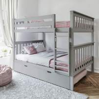 Max & Lily Solid Wood Twin over Twin Bunk Bed with Trundle Bed, Grey