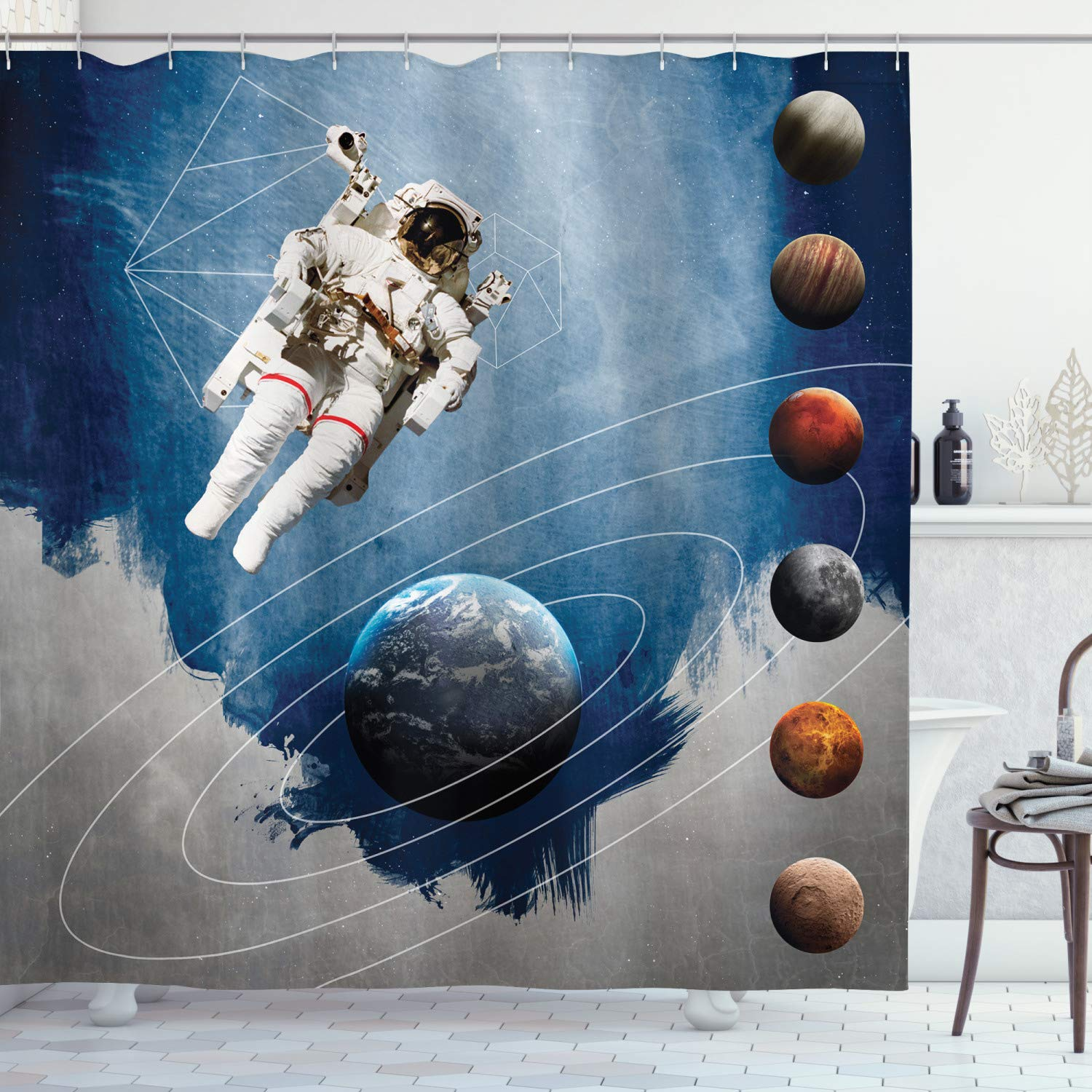 """Ambesonne Outer Space Shower Curtain, Planetary Circles with Geometric Neptune Astral Rocket Vintage Print, Cloth Fabric Bathroom Decor Set with Hooks, 70"""" Long, Blue White"""