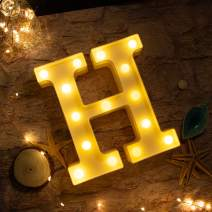 Brightown Decorative LED Marquee Letter Lights 26 Alphabet Light Up Letters Sign for Wedding Birthday Party Night Light Home Bar Decoration Battery Operated (H)