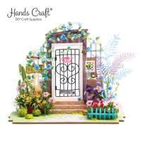Hands Craft DGM02 (Garden Entrance), DIY 3D Wooden Miniature Dollhouse Build Your Own Crafting Kit with Real LED Lights, Educational STEM Hobby Project for Kids (14) and Adults