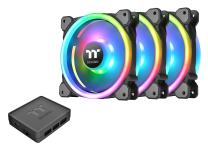 Thermaltake Riing Trio 140mm 16.8 Million RGB Color (Alexa, Razer Chroma) Software Enabled 3 Light Rings 30 Addressable LED 9 Blades Hydraulic Bearing Case/Radiator Fan, 3 Pack, CL-F077-PL14SW-A