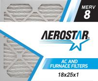 Aerostar 18x25x1 MERV 8, Pleated Air Filter, 18x25x1, Box of 6, Made in The USA