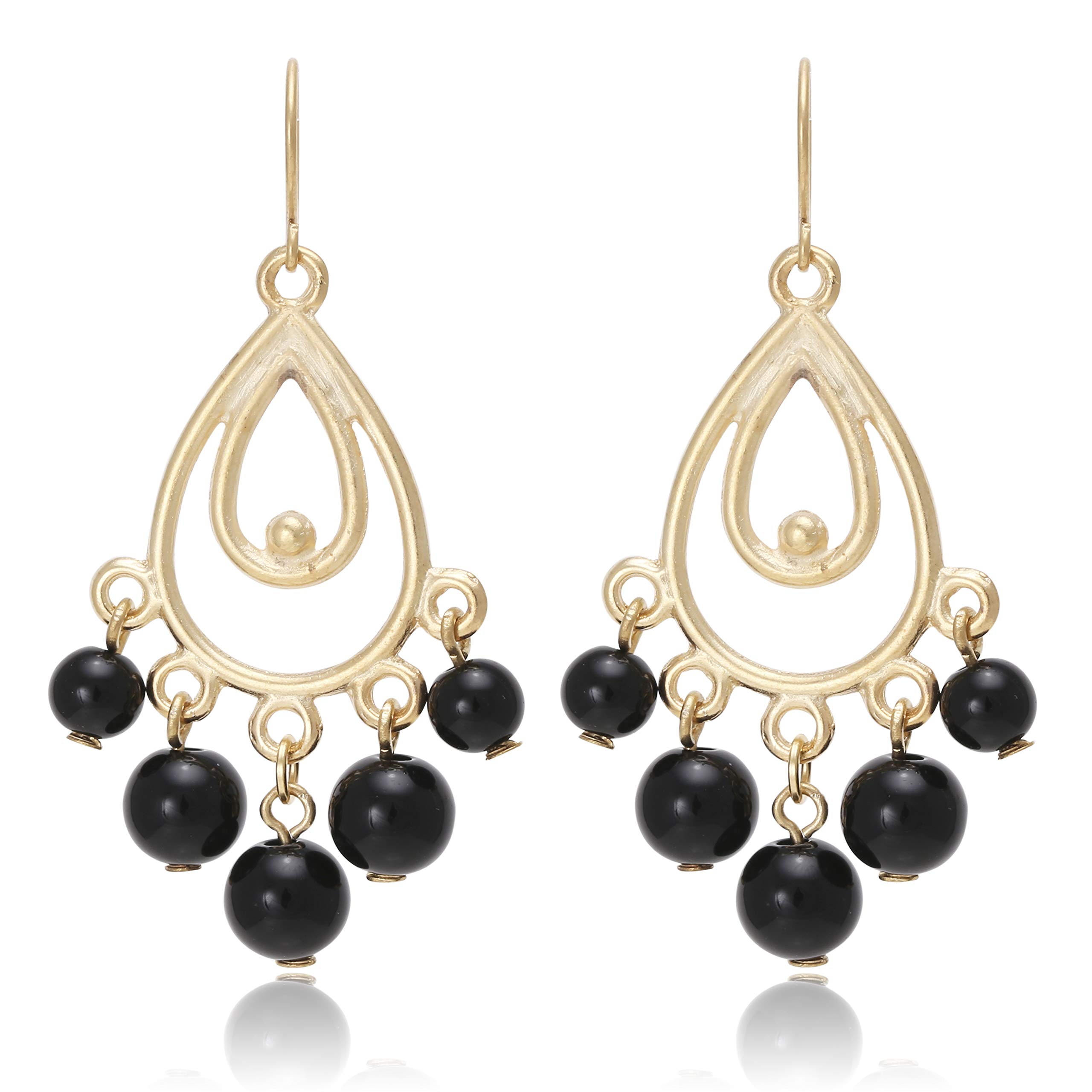 Bohemian Multi Beads Tassel with Chandelier Tear Drop Earrings for Women
