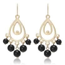Bohemian Multi Beads Tassel with Chandelier Tear Drop Earrings for Women