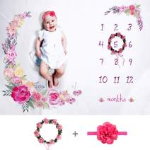 "Tiny Smiles Baby Monthly Milestone Blanket Girl | Large 60""x40"" 