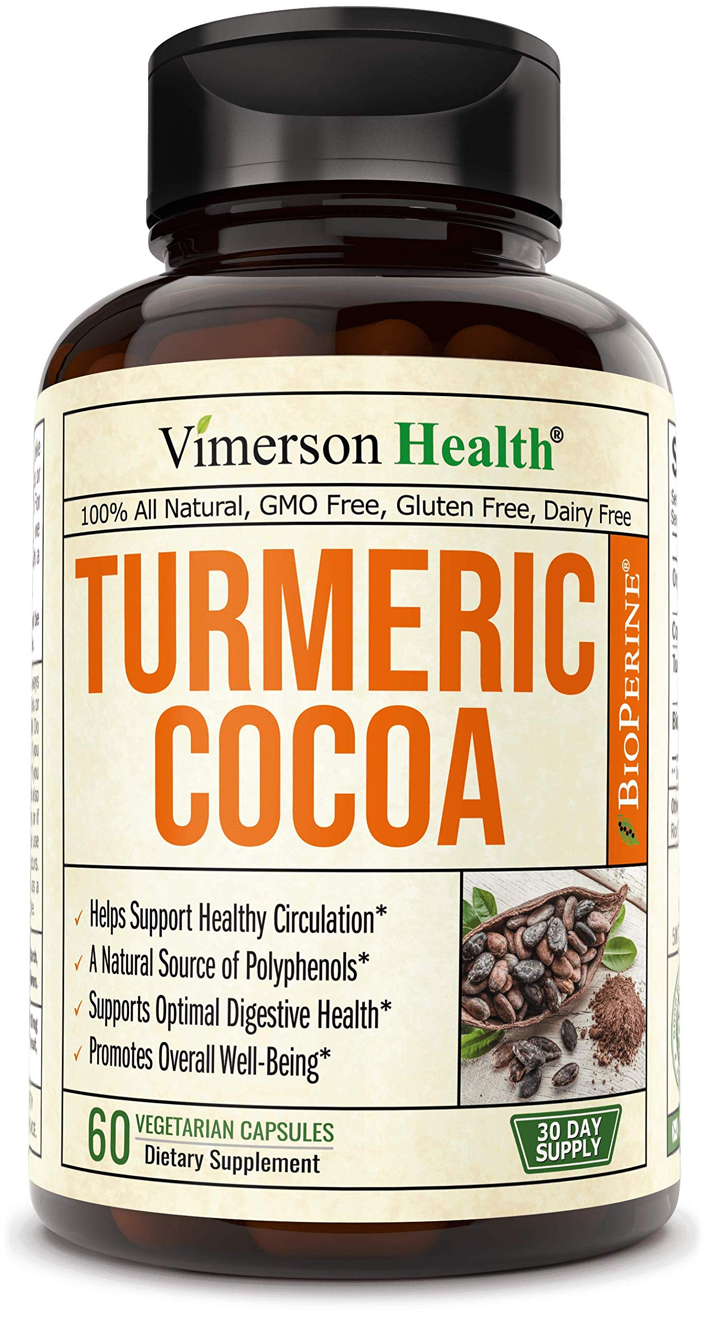 Turmeric Curcumin with Raw Cocoa Powder. Full Spectrum (Cacao) 600 milligrams Supplement. Inflammatory Response Support with Natural Polyphenols for Optimal Digestive Health and Overall Wellbeing
