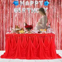 Leegleri 6ft Red Tulle Tutu Table Skirt for Rectangle or Round Table Ruffle Tablecloths for Party,Baby Shower,Birthday,Wedding,Table Skirting