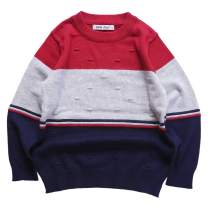 Boys' Sweater Long Sleeve Casual Pullover Crew Neck Cotton Sweater Multicolor Stripe
