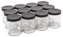 North Mountain Supply - SS-9OZ-BKP 9 Ounce Glass Straight Sided Mason Canning Jars- with 70mm Black Plastic Lids - Case of 12