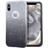 """MILPROX Glitter case for iPhone Xs iPhone X 5.8"""", Shiny Sparkle Bling, 3 Layer Hybrid Protective Soft Case - Black Gradient"""