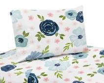 Sweet Jojo Designs Navy Blue and Pink Watercolor Floral Twin Sheet Set - 3 Piece Set - Blush, Green and White Shabby Chic Rose Flower