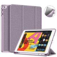 """Fintie SlimShell Case for iPad 7th Generation 10.2 Inch 2019 with Built-in Pencil Holder - Lightweight Smart Stand Soft TPU Back Cover, Auto Wake/Sleep for iPad 10.2"""" Tablet, (Lavender Purple)"""