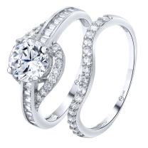 Luxurious Sterling Silver .925 Precious Metal VVS1 Clarity 1.25 CTW AAA (CZ) Cubic Zirconia Woman's 2 Piece Set Ring, Platinum/Rhodium Plated. Available Sizes 5 6 7 8 9 10