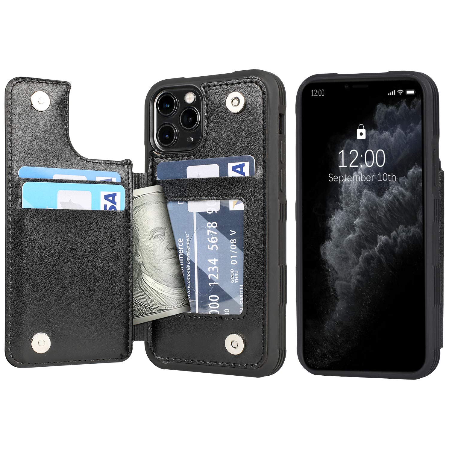 Arae Case for iPhone 11 pro PU Leather Wallet Case with Card Pockets Back Flip Cover for iPhone 11 pro 5.8 inch 2019 (Black)