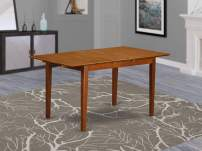 East West Furniture PST-SBR-T Butterfly Leaf Picasso Table - Saddle Brown Table Top and Saddle Brown Finish Attractive Four Legs Hardwood Structure Rectangular Table