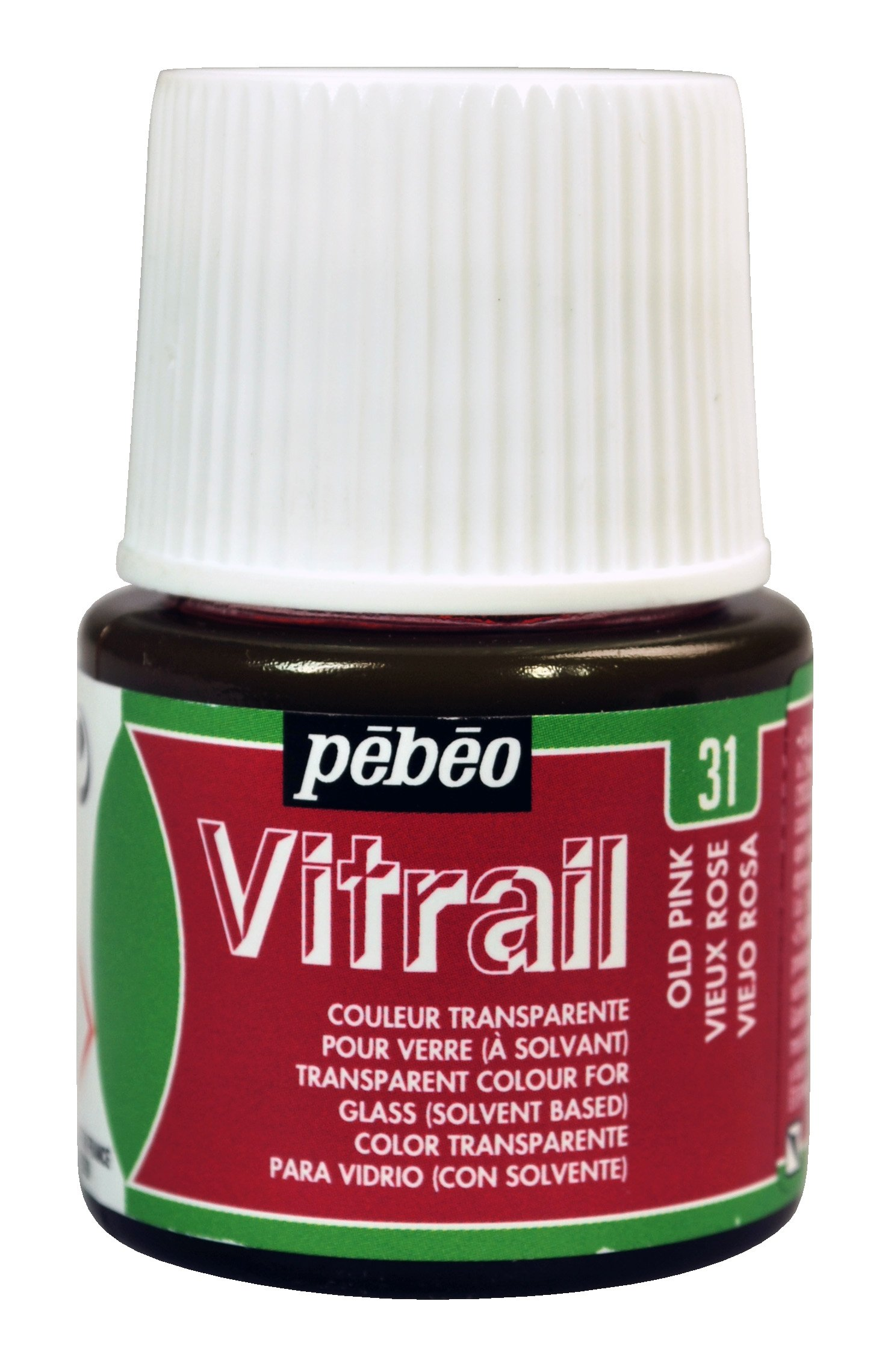Pebeo Vitrail, Stained Glass Effect Paint, 45 ml Bottle - Old Pink