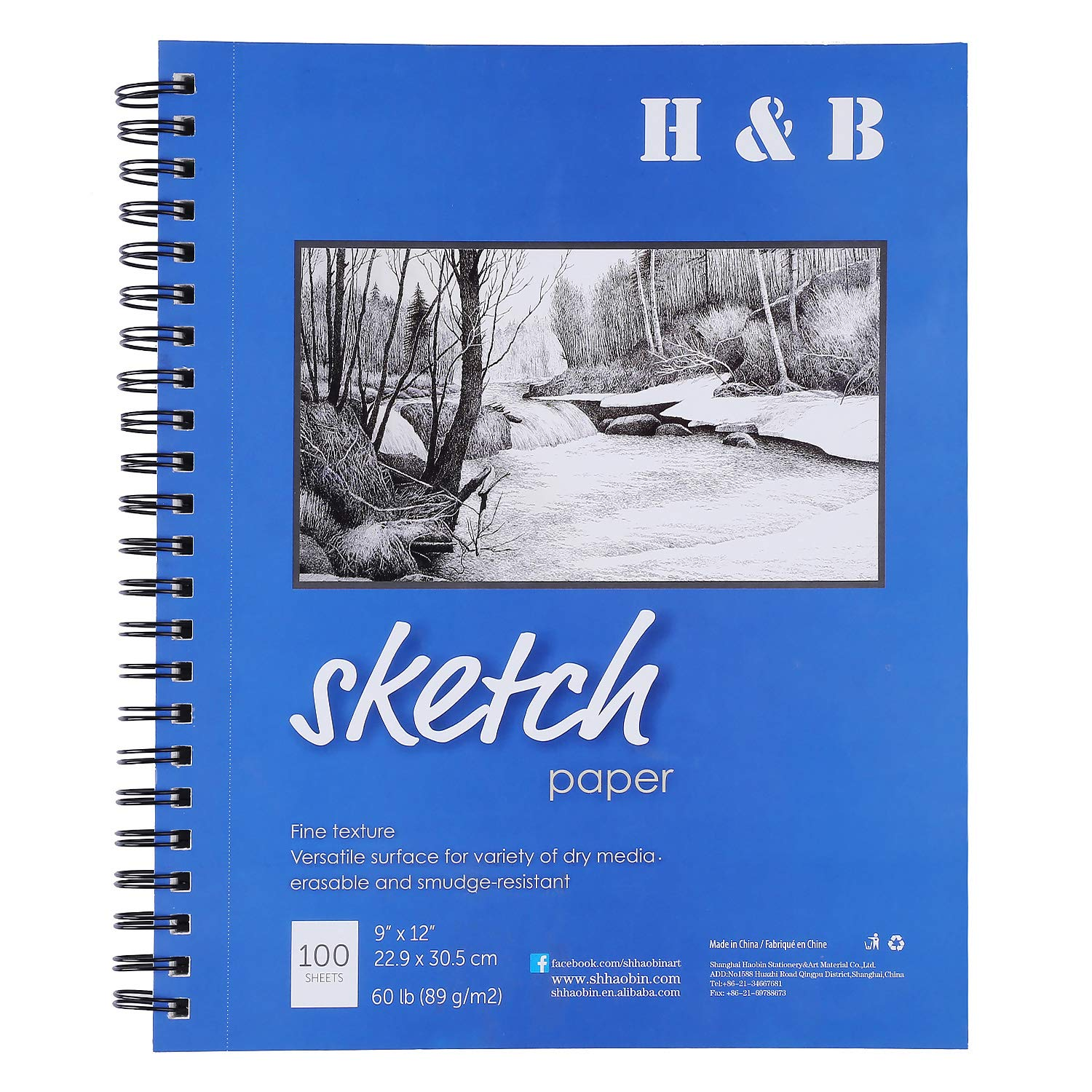"""H & B Sketch Pad 9""""X12"""", 100-Sheets, Wire Bound, Blank Page, Artist Sketch Pad, Durable Acid Free Drawing and Sketching Paper Book(1 Piece)"""