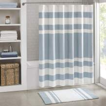 Madison Park Spa Waffle Shower Curtain Pieced Solid Microfiber Fabric with 3M Scotchgard Water Repellent Treatment Modern Home Bathroom Decorations, Wide 108X72, Blue