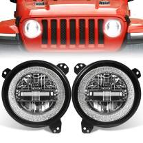 Dot Approved Black 9 Inch LED Headlights with Brilliant White Halo for 2018-2019 Jeep Wrangler JL Sport Rubicon,EMC Built in