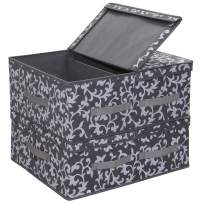 """Onlyeasy Fabric Foldable Storage Boxes - Bins Cubes Dividers Organizer Baskets Cloth Closet Shelf Cubby Bookcase Baby Container with 2 Lids, 19.6""""x16.5""""x7.8"""", Set of 2 Classic Grey Print, MNCLLB50P2"""