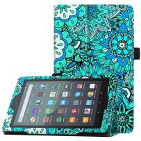 """Famavala Folio Case Cover Compatible with 7"""" Amazon Kindle Fire 7 Tablet (9th Generation, 2019 Release) (MintFlower)"""