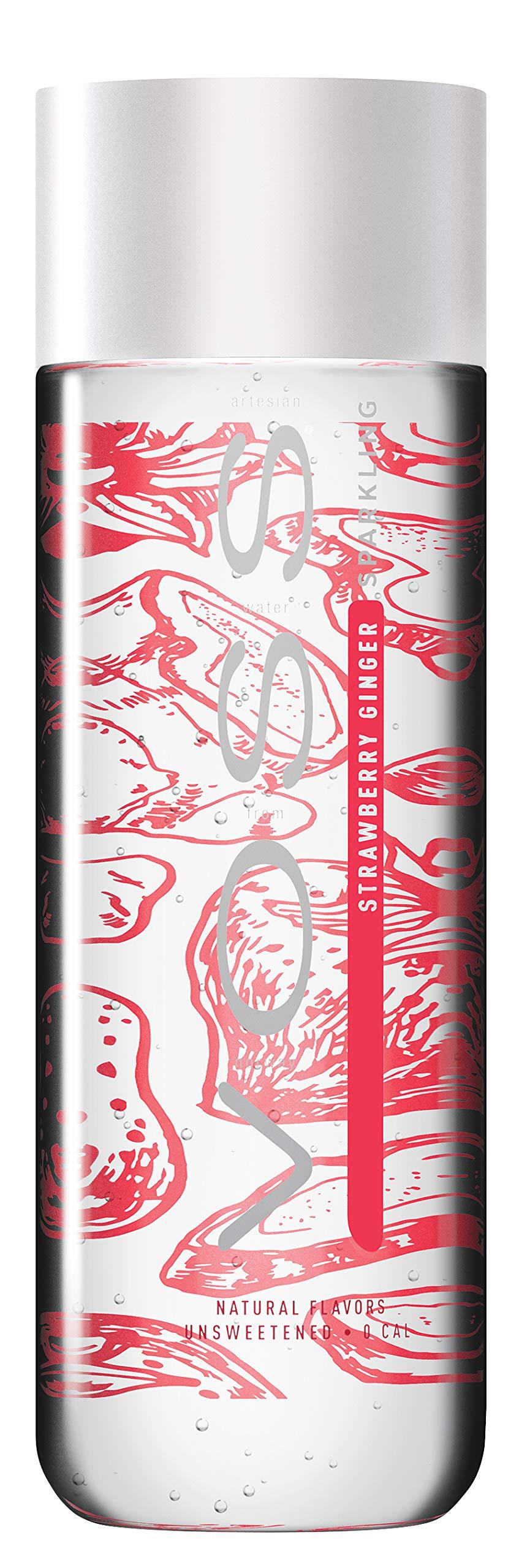VOSS Artesian Sparkling Water, Strawberry Ginger, 330 ml Plastic Bottles (12 Count)