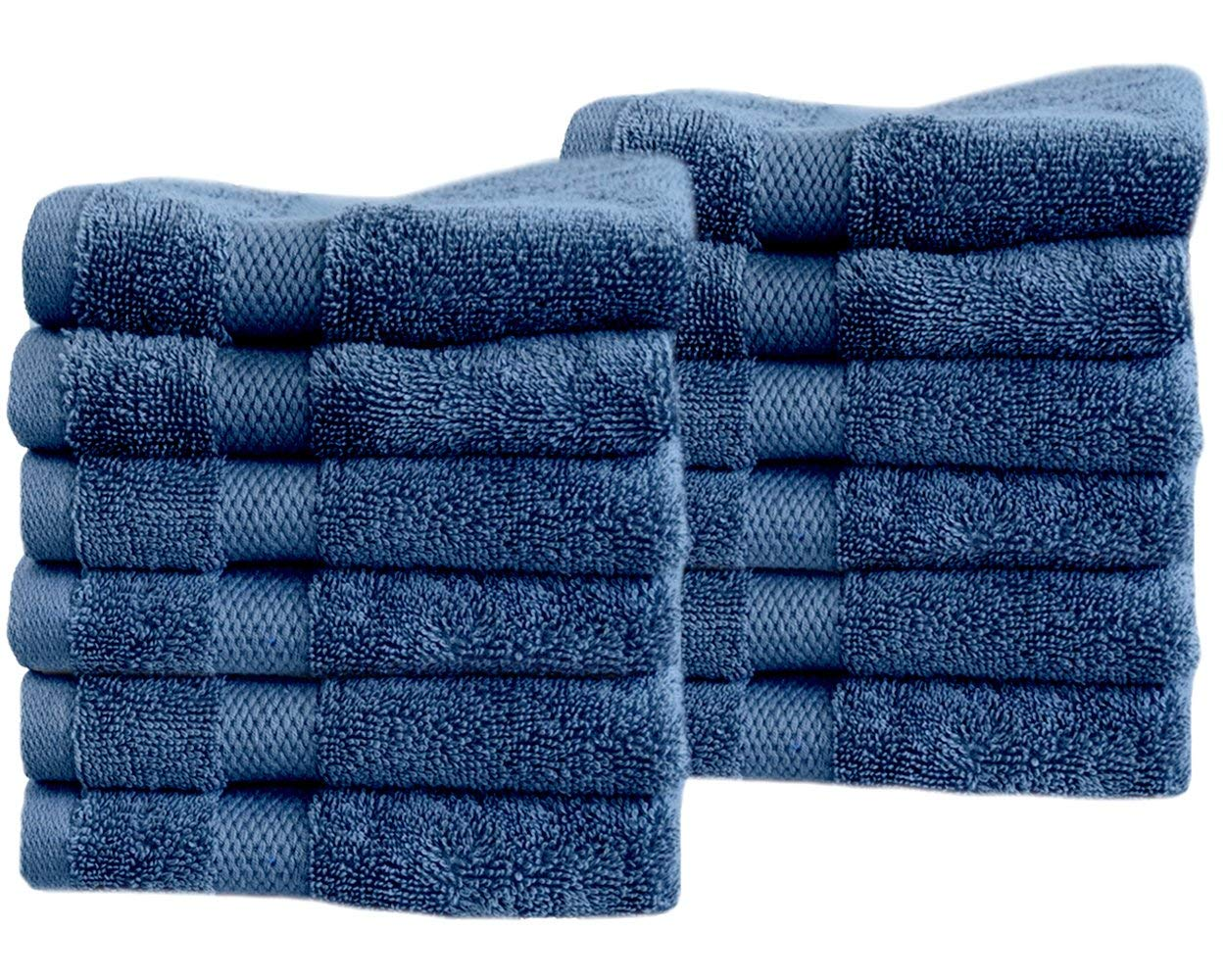 """Cotton & Calm Exquisitely Fluffy Washcloths/Face Cloths Towel Set (12 Pack, 13"""" x 13""""), Premium Blue Washcloths - Super Soft, Thick, and Absorbent for Face, Hand, Spa & Gym"""