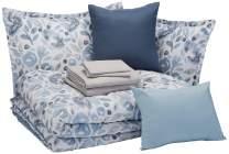 AmazonBasics 10-Piece Comforter Bedding Set, Full / Queen, Blue Watercolor Floral, Microfiber, Ultra-Soft
